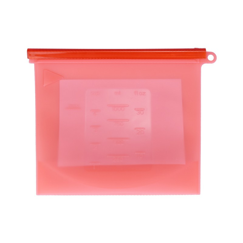 1000ml Reusable Silicone Food Storage Bag Kitchen Fresh-keeping Sealed Bag Eco Friendly Reusable Bag - Red