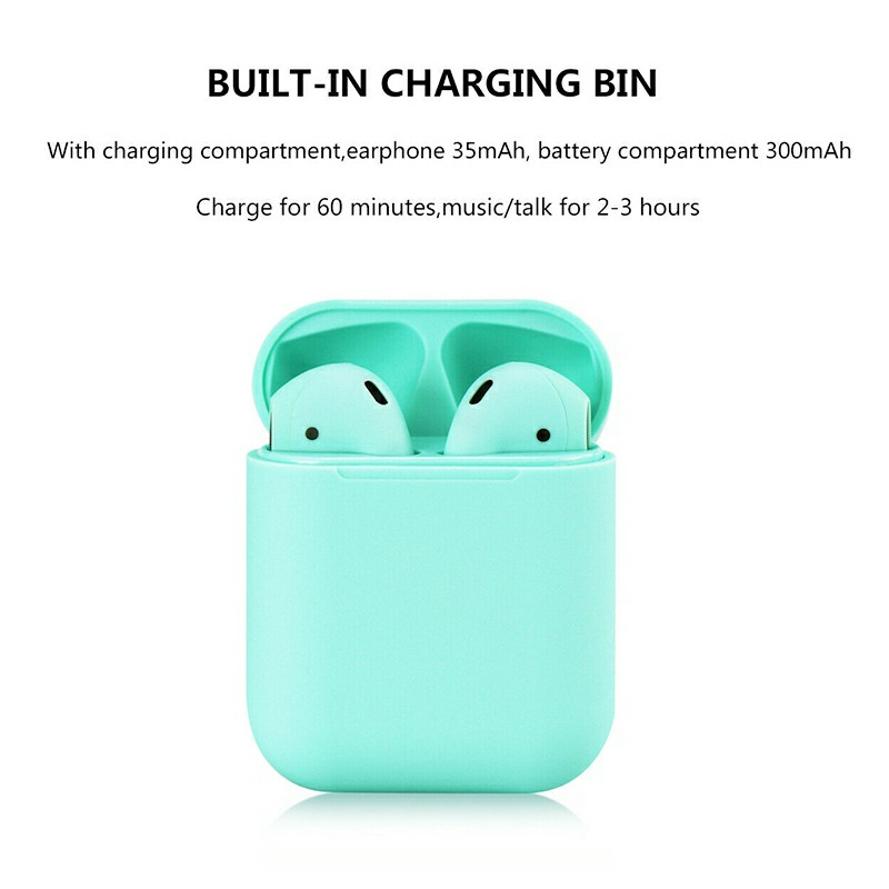 i12 5.0 TWS Bluetooth Headphones Candy Colour Outlook Touch Control Wireless Earphones Fit with Android iOS Microsoft - Green