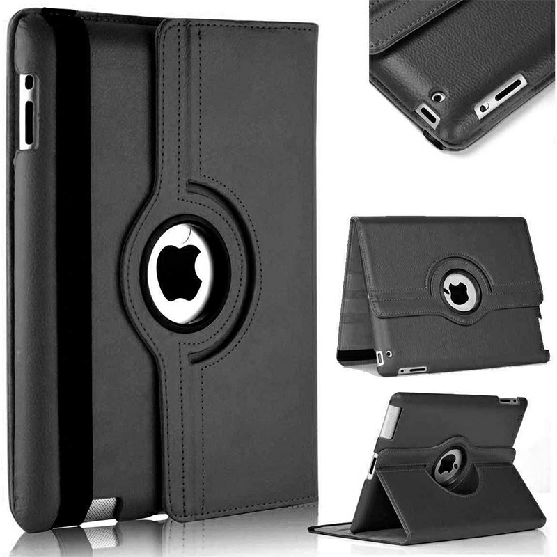 PU Leather Grainy Pattern 360 Degree Rotating Flip Case Protective Cover for iPad 2/3/4 - Black