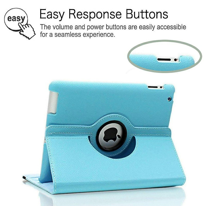 PU Leather Grainy Pattern 360 Degree Rotating Flip Case Protective Cover for iPad 2/3/4 - Light Blue