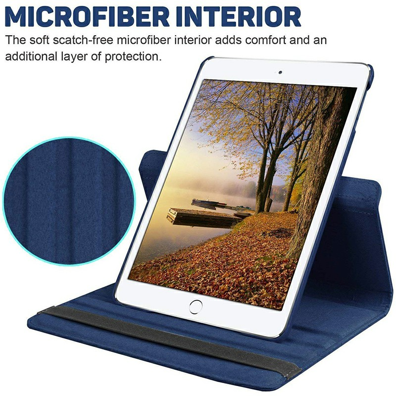 PU Leather Grainy Pattern 360 Degree Rotating Flip Case Protective Cover for iPad 2/3/4 - Navy Blue