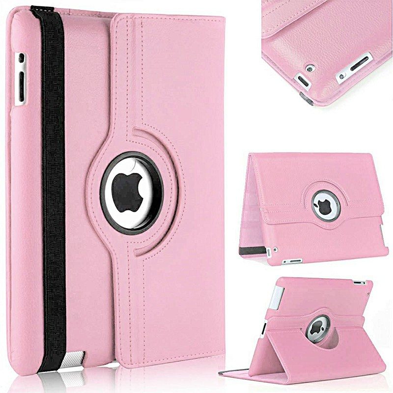 PU Leather Grainy Pattern 360 Degree Rotating Flip Case Protective Cover for iPad 2/3/4 - Pink