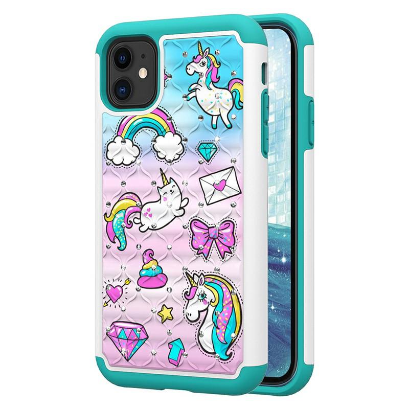 Animal Printed Cute Case Rhinestone Hard Phone Case Inner Soft PU Bumper Back Cover for iPhone 11 - Unicorn