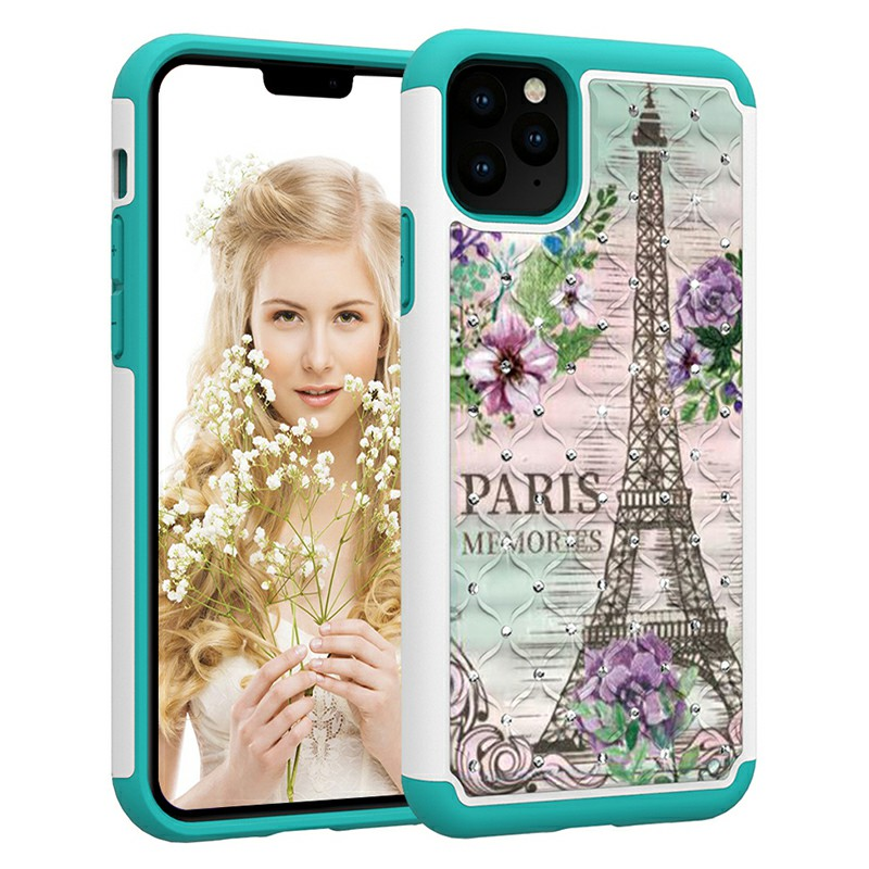 Printed Crystal Decorated Hard Phone Case Inner Soft PU Bumper Back Cover for iPhone 11 Pro Max - Tower