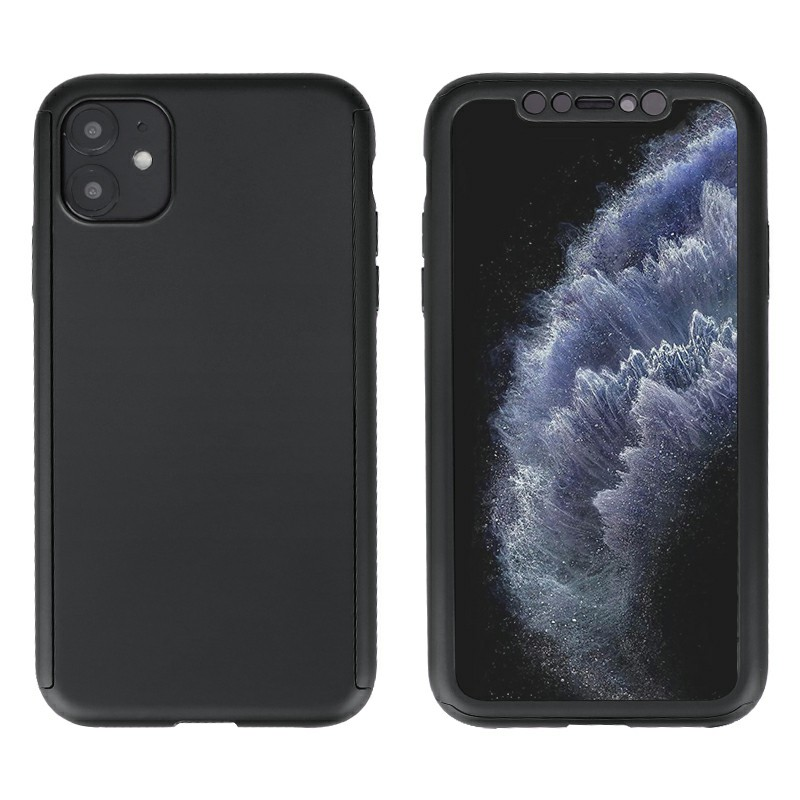 Ultra Thin Hard Frame Case Full Coverage 360 Degree Phone Cover with Screen Protector for iPhone 11 - Black