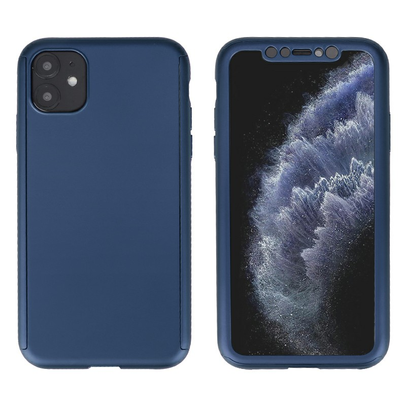 Ultra Thin Hard Frame Case Full Coverage 360 Degree Phone Cover with Screen Protector for iPhone 11 - Blue