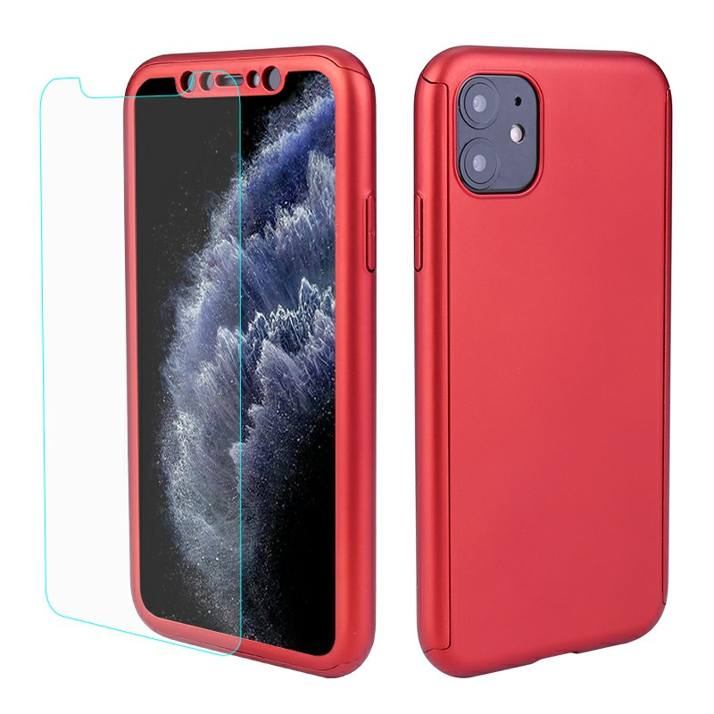 Ultra Thin Hard Frame Case Full Coverage 360 Degree Phone Cover with Screen Protector for iPhone 11 - Red