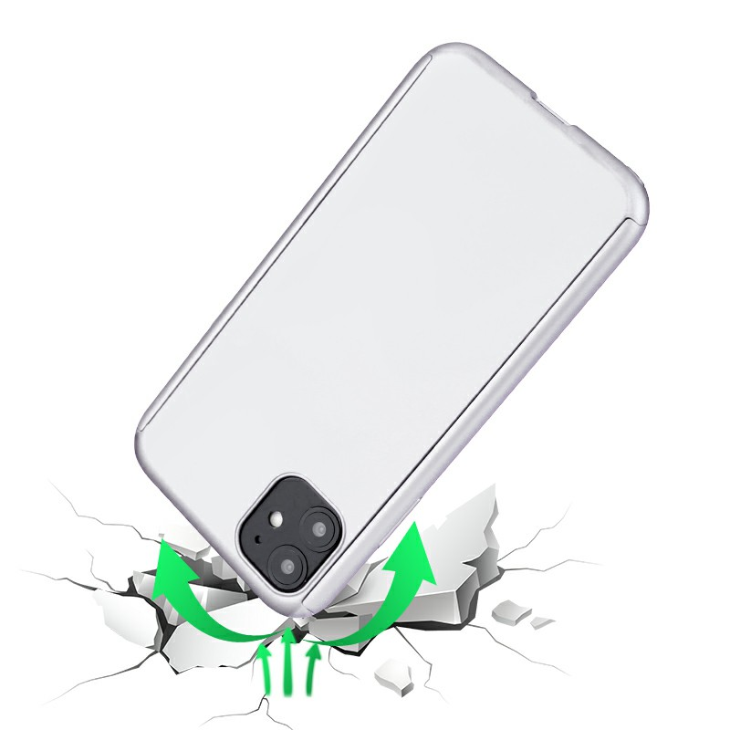 Ultra Thin Hard Frame Case Full Coverage 360 Degree Phone Cover with Screen Protector for iPhone 11 - Silver