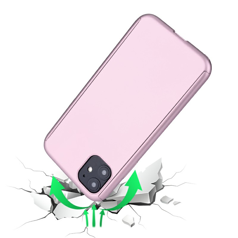 Ultra Thin Hard Frame Case Full Coverage 360 Degree Phone Cover with Screen Protector for iPhone 11 - Rose Gold