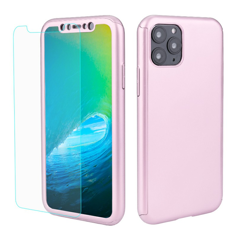 360 Degree Full Coverage Hard Thin Slim Case Phone Cover with Screen Protector for iPhone 11 Pro Max - Rose Gold