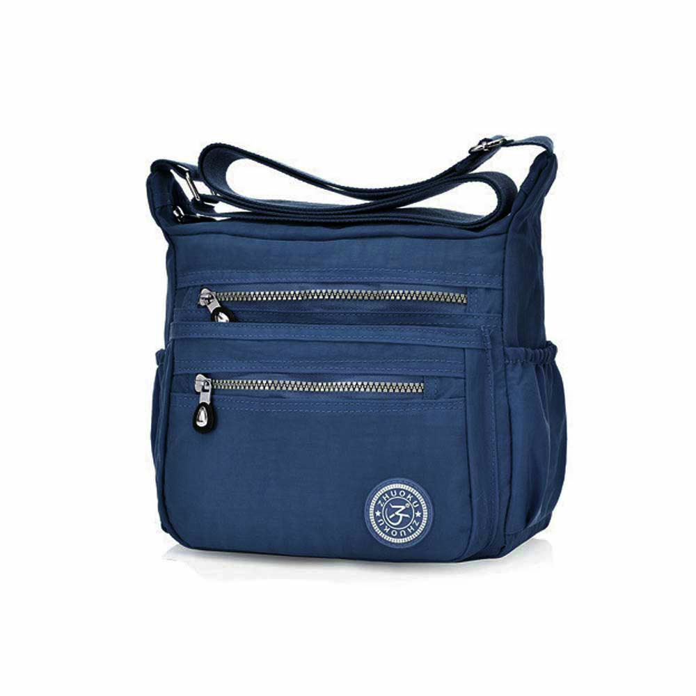 Women Satchel Shoulder Bag Tote Messenger Cross Body Waterproof Canvas Handbag Fashion Casual Single Bag - Navy Blue