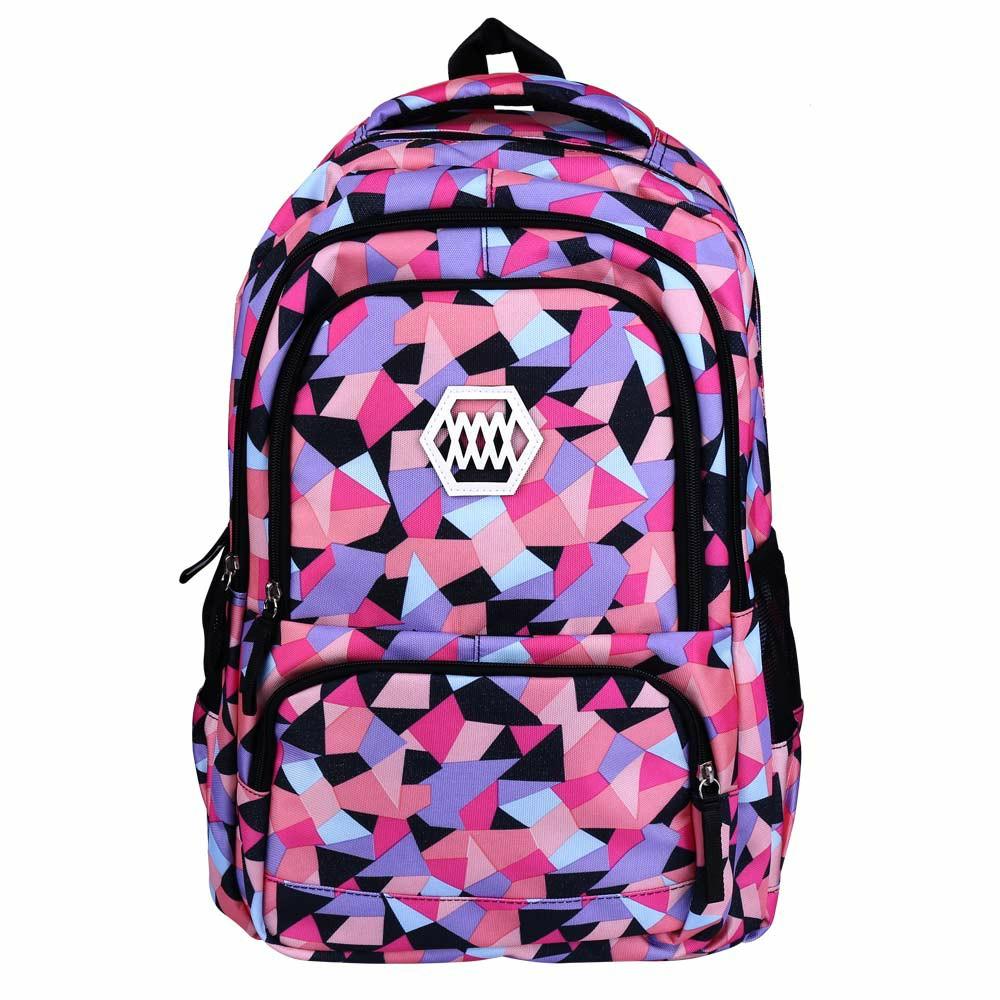 Fashion Fanci Geometric Prints Primary School Student Satchel Backpack for Girls Waterproof Preppy Schoolbag Shoulder Bag - Black