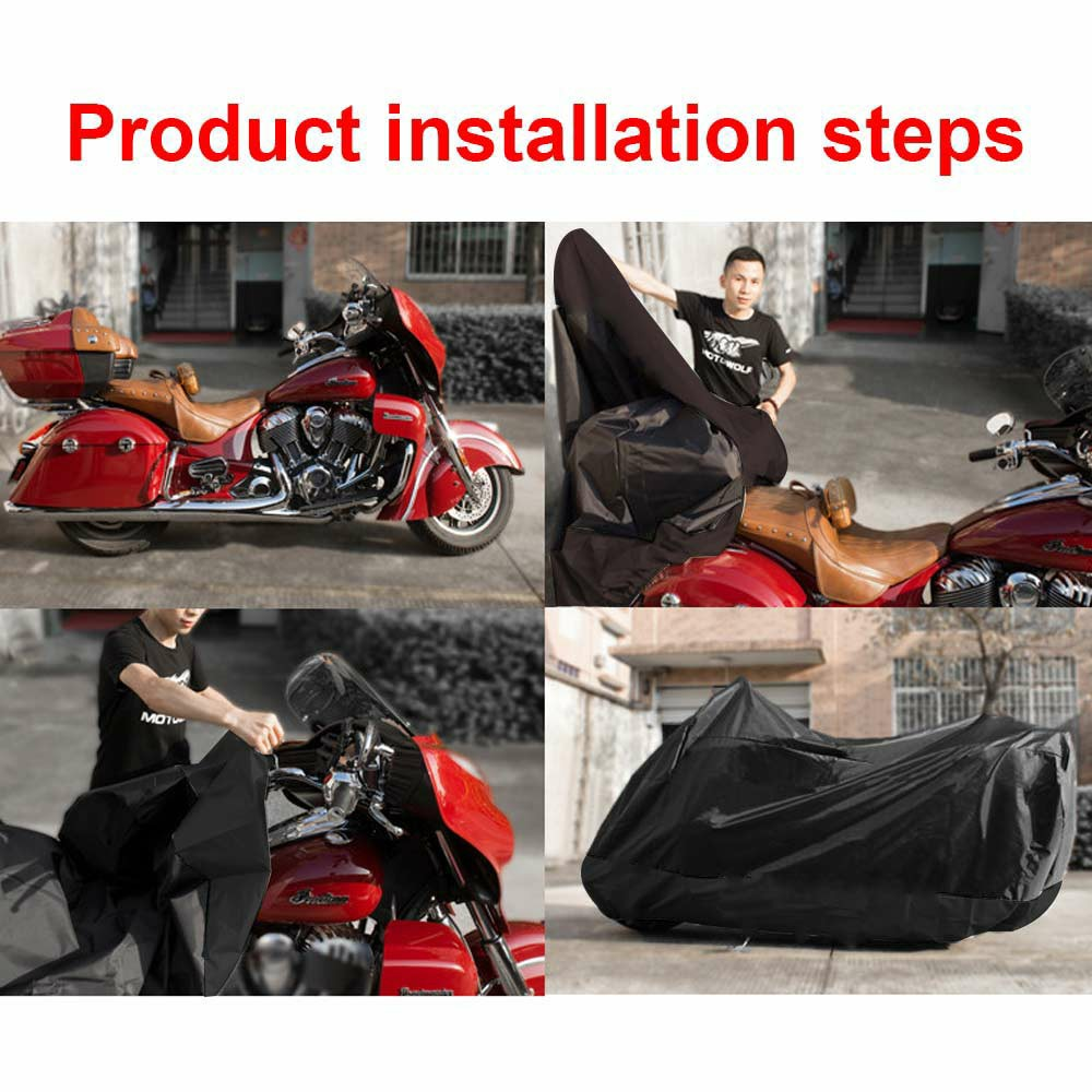 210D Oxford Cloth Motorcycle Waterproof Cover Outdoor Vented Motor Bike Scooter Dust Rain Cover - Black