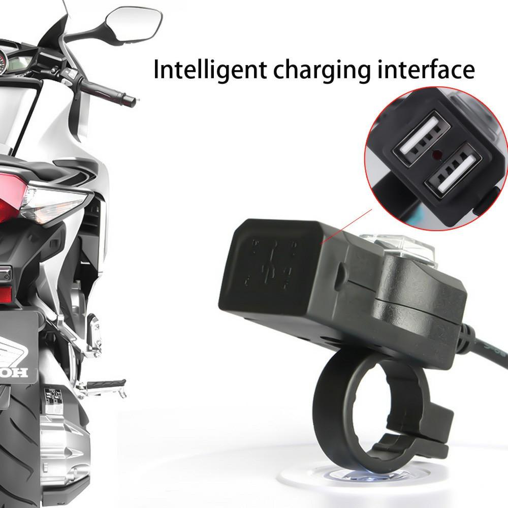 Dual USB Motorcycle Electric Bike Handlebar Charger Socket Switch Double Mounts Waterproof Dual USB Charger