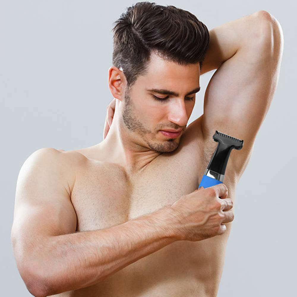 Portable Washable Rechargeable Hair Clipper Shaver Electric Men Eyebrow Cordless Body Hair Trimmer Beard Shaver - Blue