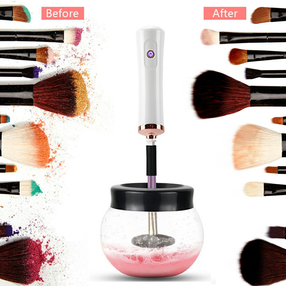 Electric Make up Brush Cleaner Dryer Set Machine Cosmetic Auto Clean Quick Dry Washing Tool Deep Clean Dries Makeup Brushes - White