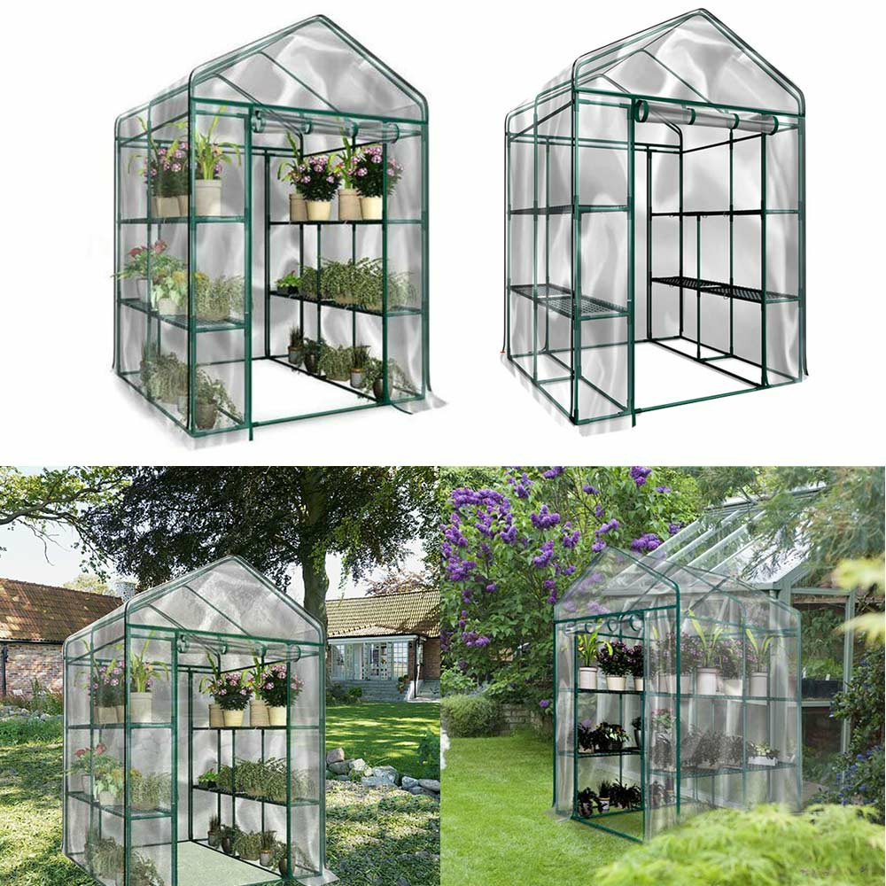 Heritage Garden PVC Greenhouses Cover Outdoor Plant Grow Shelter Walk In 4-Tier Shelter House Greenhouse Grow Bag - 143x143x195cm