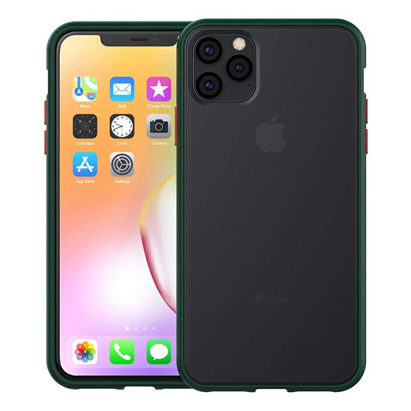 Frosted Back Cover Soft TPU Frame Phone Case Anti Scratch Matte Case for iPhone 11 Pro Max - Green