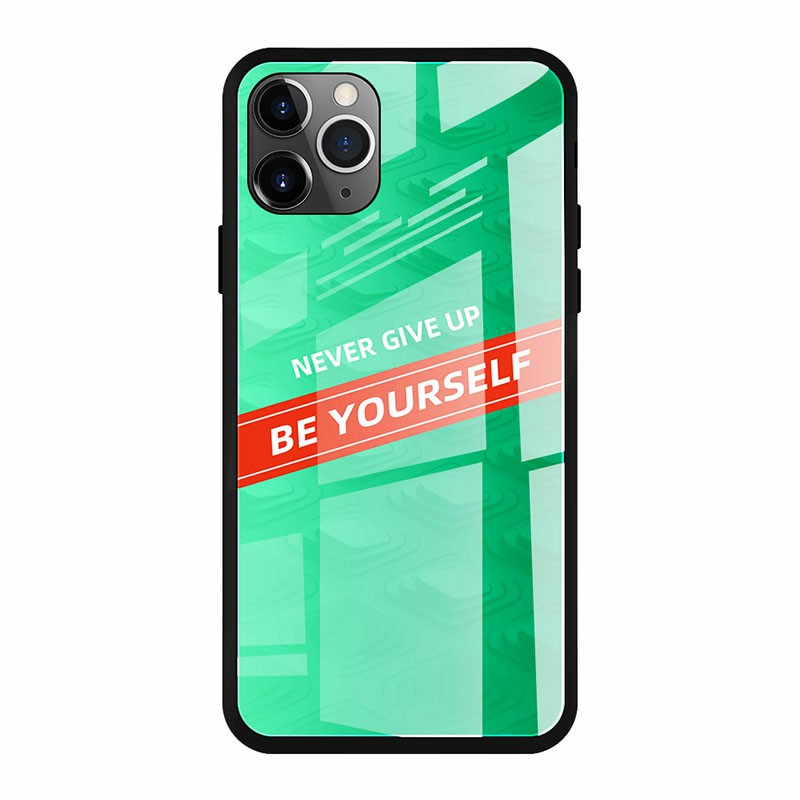 Tempered Gradient Stained Glass Phone Case Soft TPU Edge Drop Protective Smooth Cover for iPhone 11 Pro - CP-03