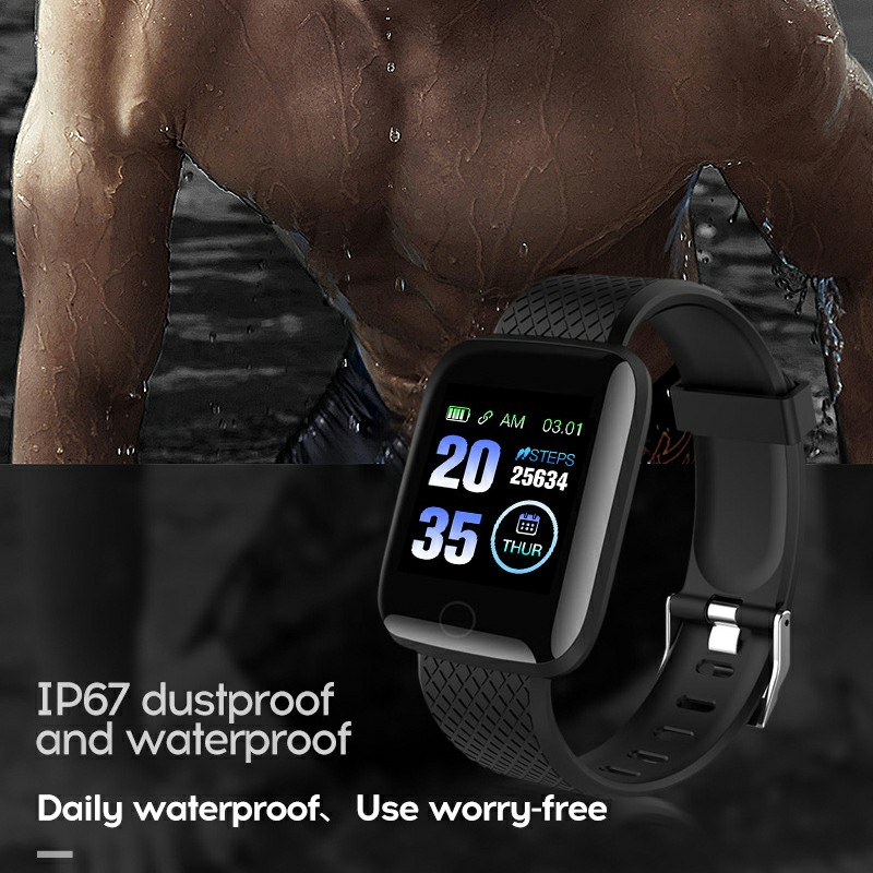 116plus Smart Watch Color Screen Sport Monitor Measure Heart Rate Blood Pressure Blood Oxygen Bluetooth Watch - Black