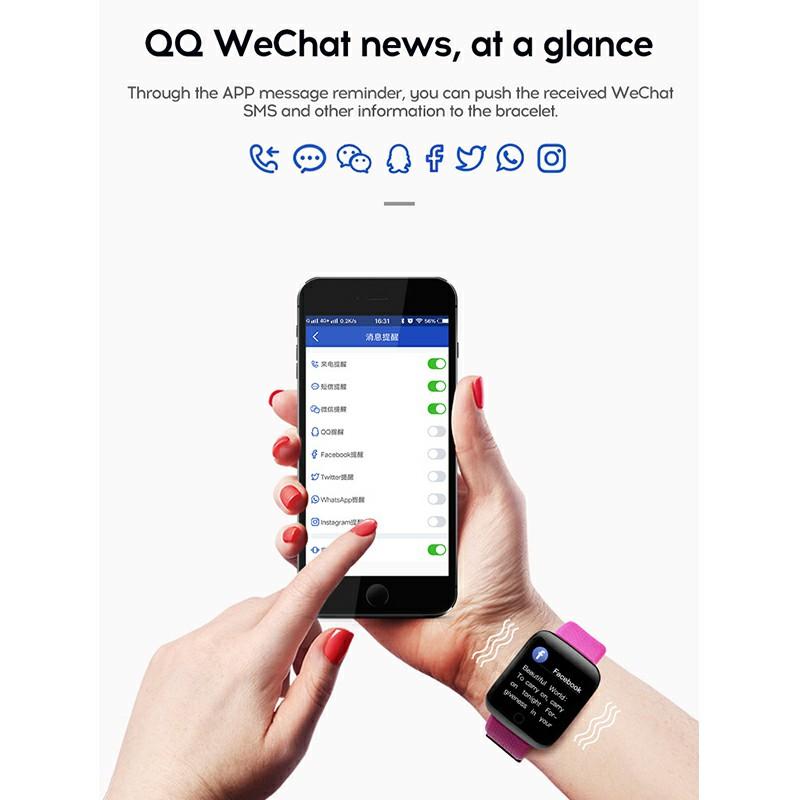 116plus Smart Watch Color Screen Sport Monitor Measure Heart Rate Blood Pressure Blood Oxygen Bluetooth Watch - Purple