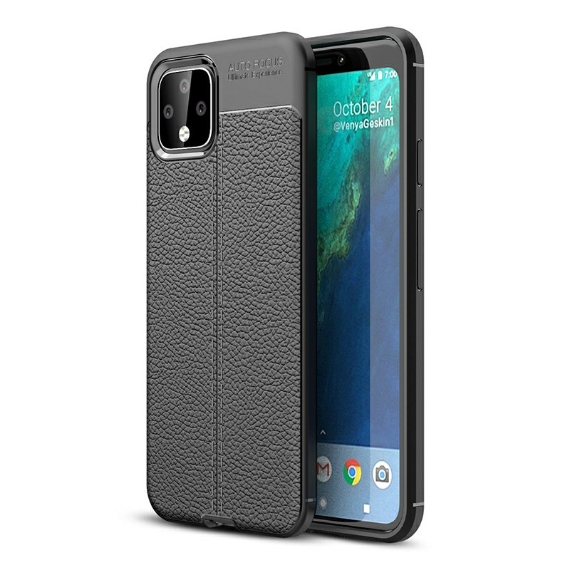 Silicone Grainy Phone Cover Mobile Phone Case Flexible TPU Bumper Back Case for Google Pixel 4 - Black