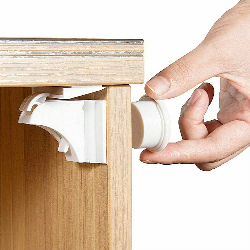 Invisible Magnetic Baby Childs Pet Proof Cupboard Door Drawer Safety Locks Catch