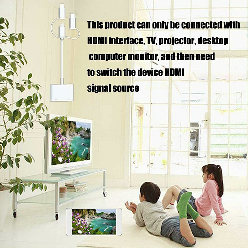 3 in 1 Lightning Type C Micro USB Connector to Digital HDMI 1080P HD 4K TV AV Cable Adapter