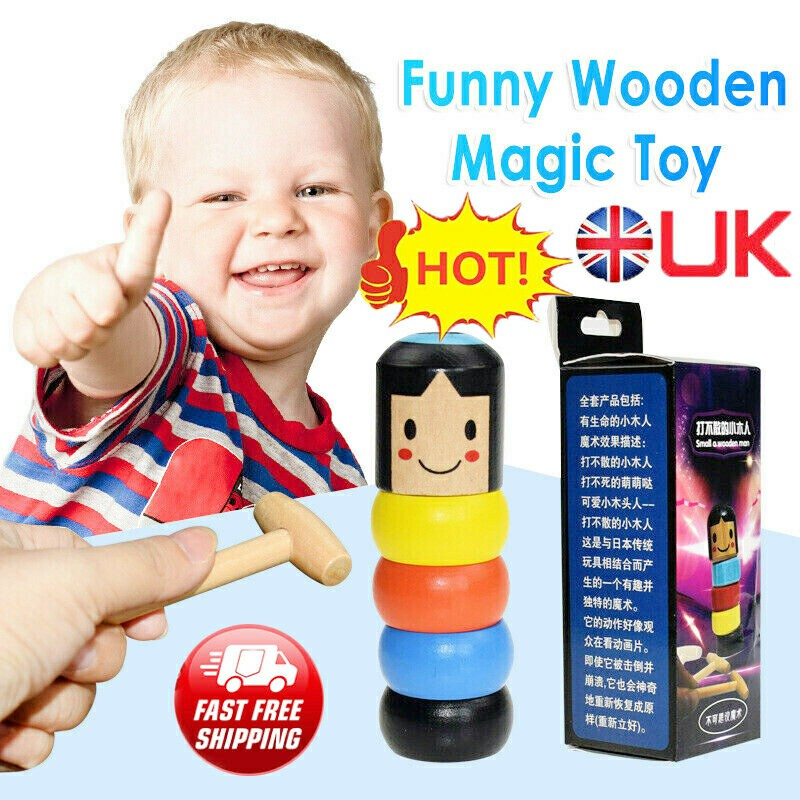 Unbreakable Wooden Magic Toys Wooden Stubborn Man Toy Funny Gifts for Kids Children