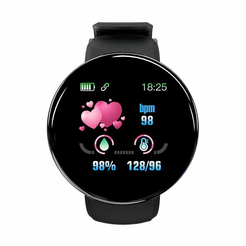 D18 Sport IP65 Waterproof Heart Rate Monitor Sport Bluetooth Fitness Tracker for iOS Android Smart Watch - Black
