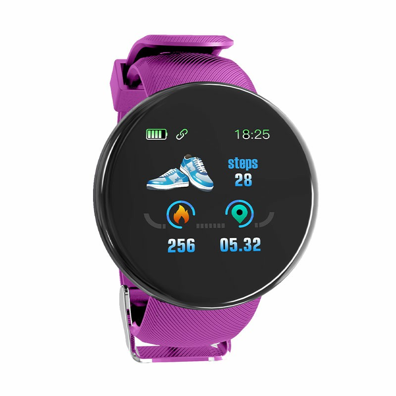 D18 Sport IP65 Waterproof Heart Rate Monitor Sport Bluetooth Fitness Tracker for iOS Android Smart Watch - Purple