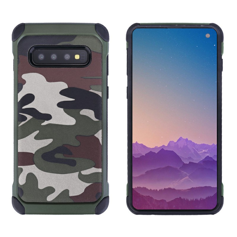 Army Camouflage Hard Case Soft Silicone Frame and Anti-knock Shockproof Back Cover for SamsungGalaxy S10 - Green