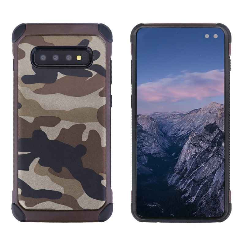 Soft Silicone Frame and Hard PC Fitted Phone Cover Camouflage Back Case for SamsungGalaxy S10 Plus - Brown