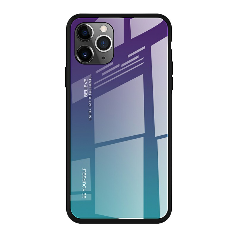 Tempered Glass Hard Back Case Phone Cover Gradient Colour Case with Soft Frame for iPhone 11 Pro - Aurora Blue