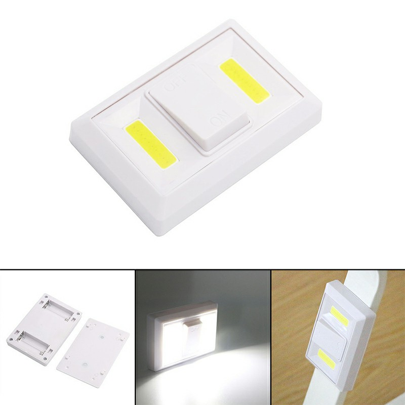 Led Adhesive Light Battery Power Operation Magnet Holder Furniture Lamp Night Light COB Toggle Light