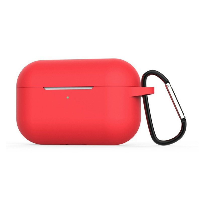 Super Soft Silicone Protective Case Cover Portable Wireless Bluetooth Earphone for Apple AirPods Pro - Red