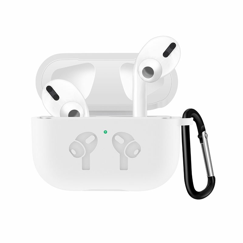 Thickened Wireless Bluetooth Earphone very Soft Silicone Protective Case Cover for Apple AirPods 3 - White
