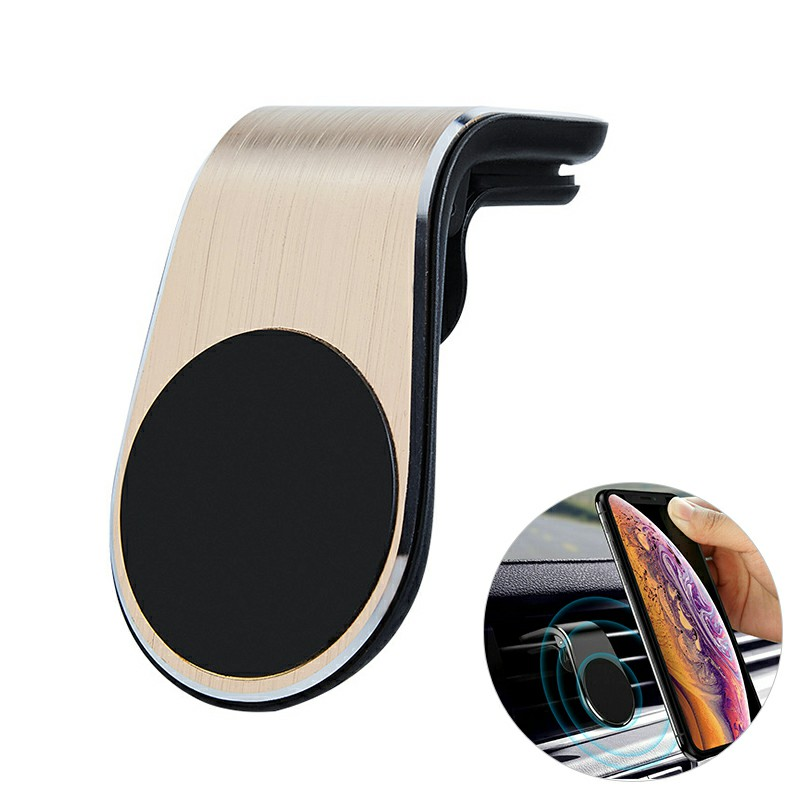 Universal Magnetic Phone Holder Clip Car Air Vent Bracket Suction Socket for Mobile Phones GPS - Gold