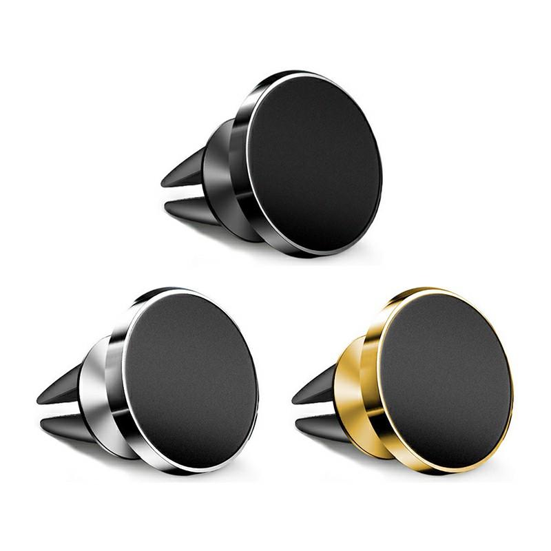 Universal Magnetic Phone Holder Clip Car Air Vent Bracket for Mobile Phones GPS Devnices - Gold