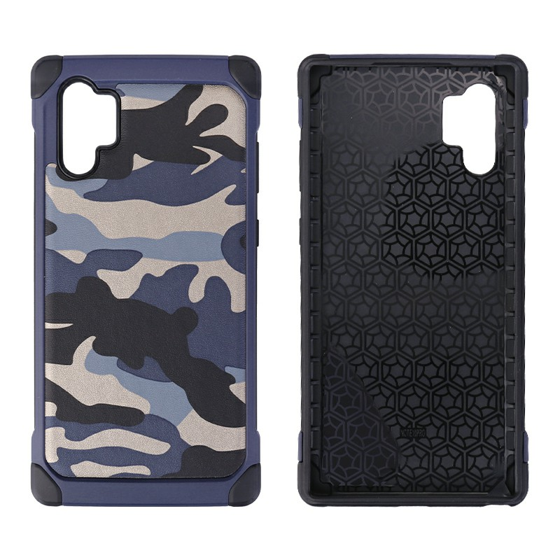 Army Camouflage Hard Case Anti-knock Shockproof Back Cover Soft Silicone Frame for Samsung Note 10 Plus - Blue