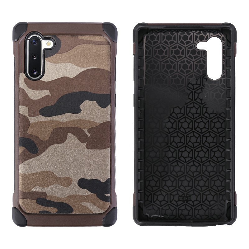 Anti-knock Shockproof Back Cover Army Camouflage Hard Case Soft Silicone Frame for Samsung Note 10 - Brown