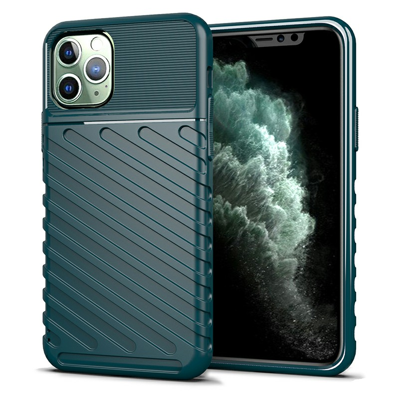 Soft TPU Textured Fitted Case Skin Thin Phone Case Mobile Phone Cover for iPhone 11 Pro Max - Green