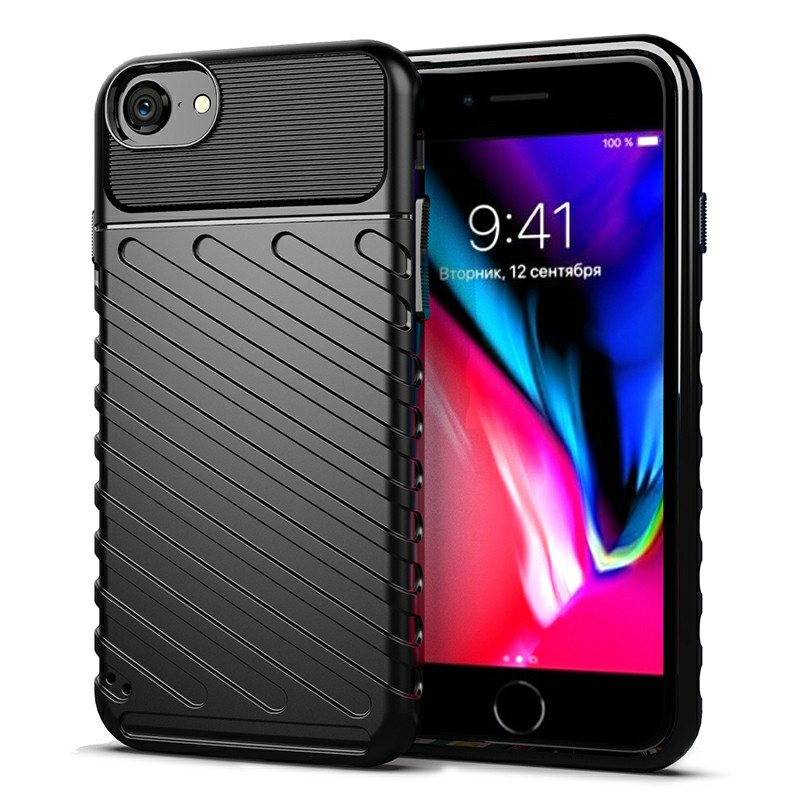 Flexible Back Cover Textured Mobile Phone Shell Simple Phone Case Soft Silicone for iPhone 7/8 - Black