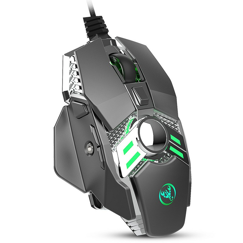 J200 Optical White Light Mechanical Gaming Mouse 7 Keys Programmable Macros Wired Mouse - Silver + Grey