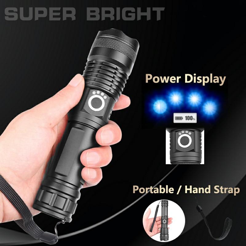 Waterproof Super Powerful Flashlight XHP50 LED Zoomable 5 Lighting Modes Headlamp