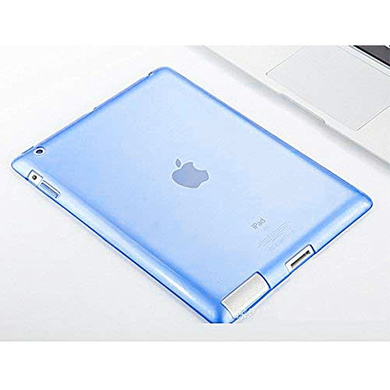 Slim Enviromental Tablet Back Cover Protection Clear TPU Flexible Case for iPad 2/3/4 - Blue