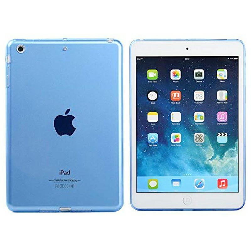 Simple Clear TPU Soft Tablet Case Protective Back Cover for iPad Mini 1 / 2 / 3 - Blue