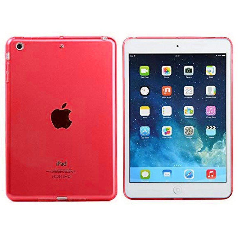 Simple Clear TPU Soft Tablet Case Protective Back Cover for iPad Mini 1 / 2 / 3 - Red