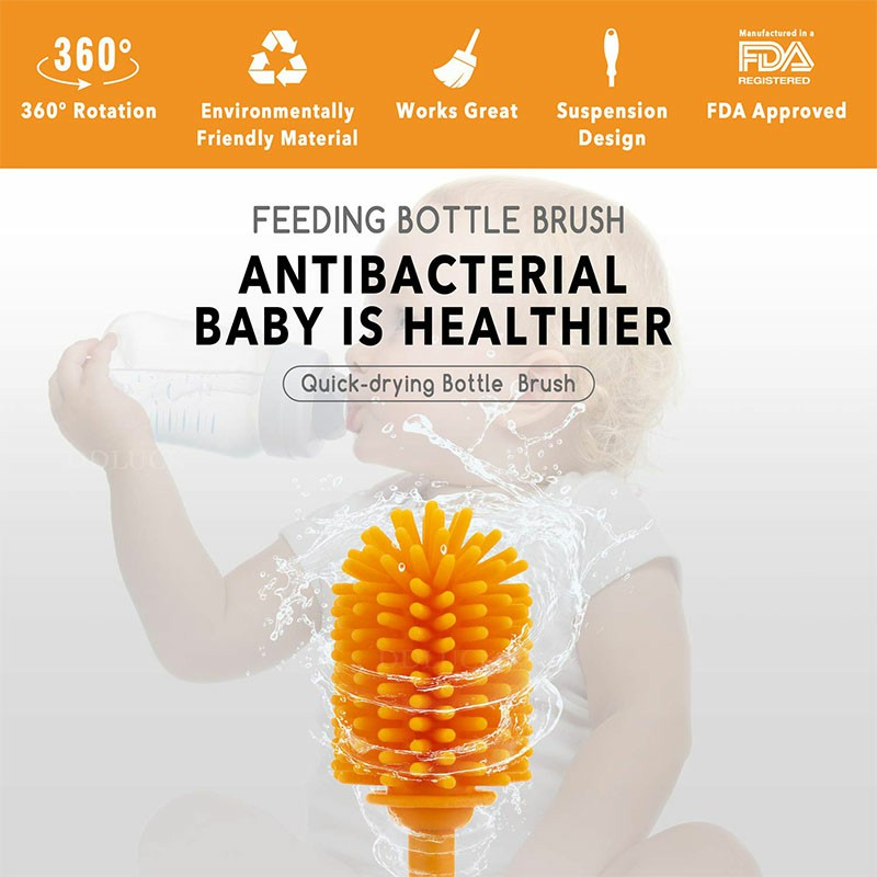 29cm Silicone Bottle Brush Bottle Cleaner Long Narrow Container Brusher - Orange