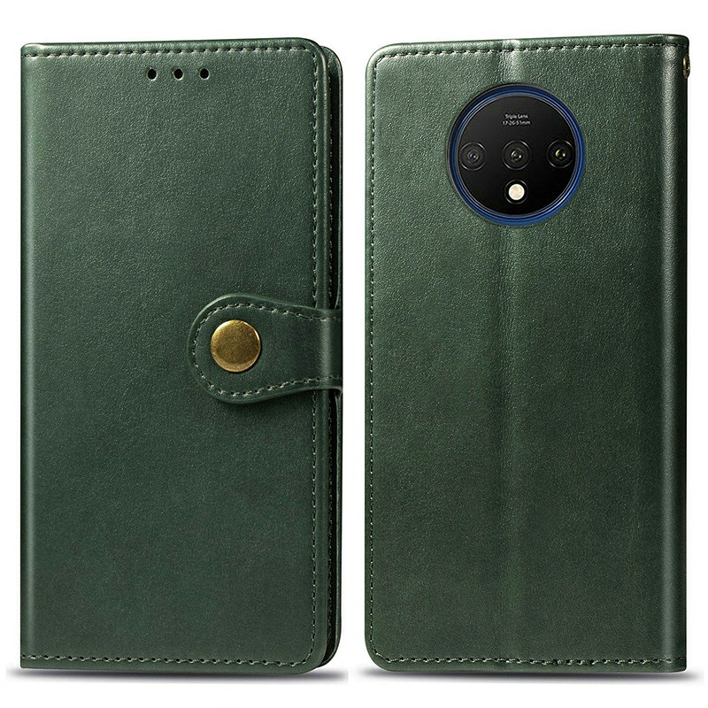 Magnetic PU Leather Wallet Case Full Wrap Phone Cover Flip Stand Cover for OnePlus 7T - Green